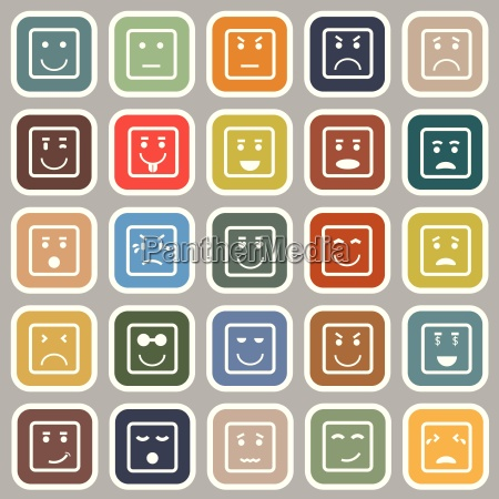 square face flat icons on gray