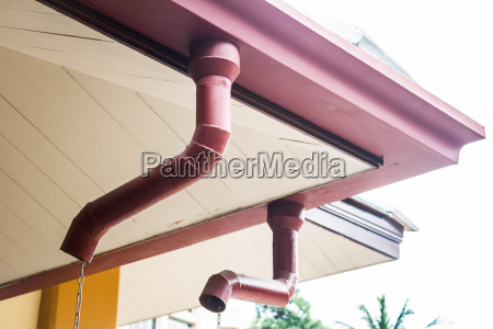 corner of house with rain gutters