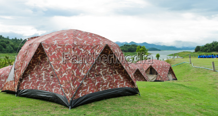 camping tents by lake