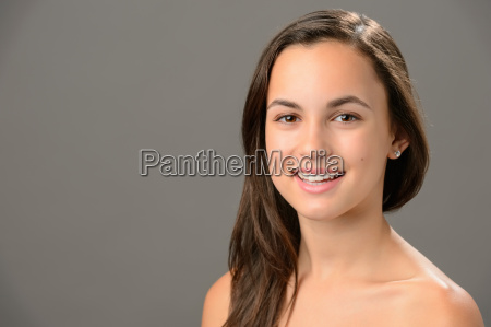 smiling teenage girl skin care beauty