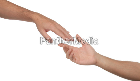 two male hands reaching towards each