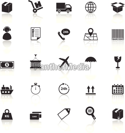 logistics icons with reflect on white