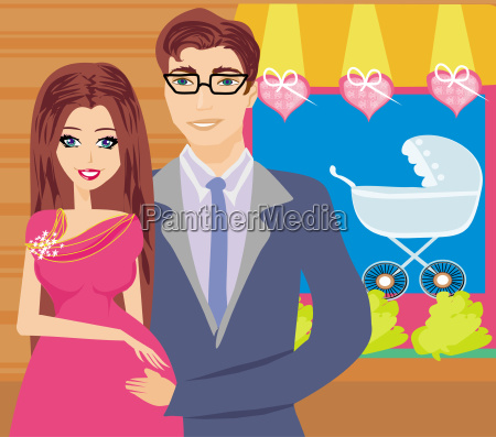 shopping couple awaiting baby