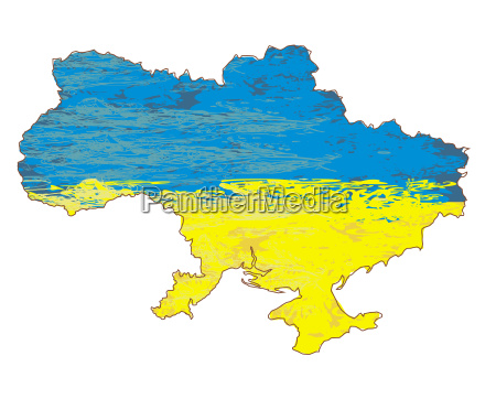 ukraine grunge map with the flag