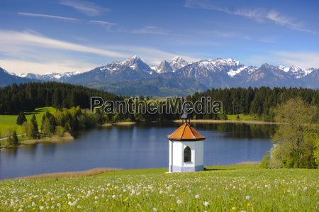 panoramic landscape in bavaria with mountain