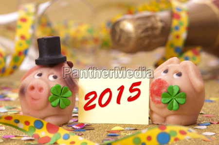 new year 2015 lucky pig for