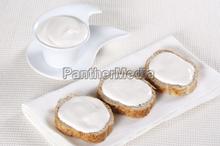 canape with soft cheese