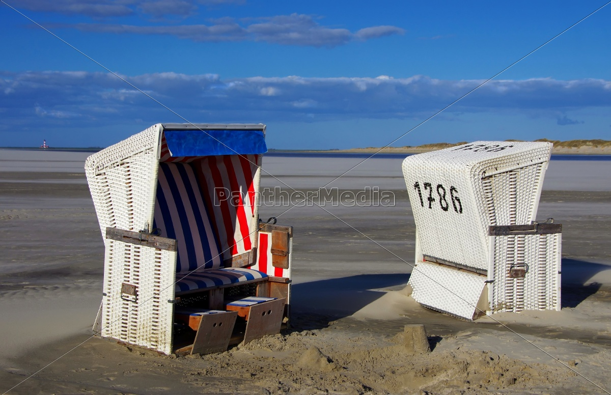beach, chairs, with, westerhever, lighthouse - 11967736