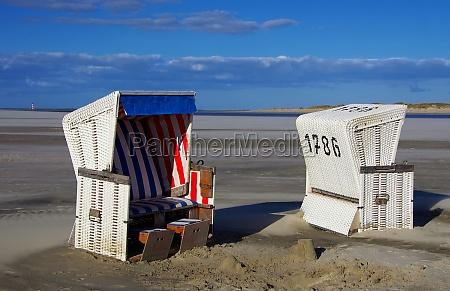 beach, chairs, with, westerhever, lighthouse - 11967736