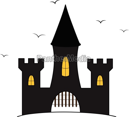 cartoon castle illustration with flying crows