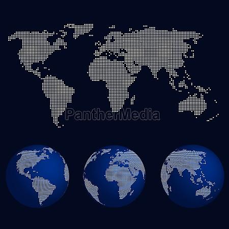 set of world globes in dot