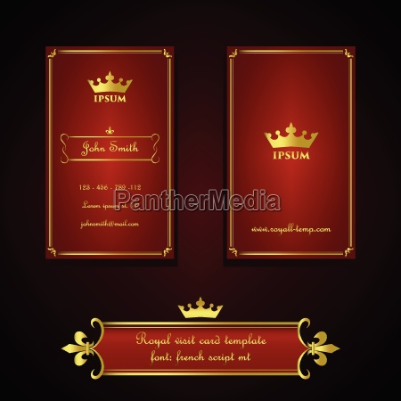 business card template in royal red