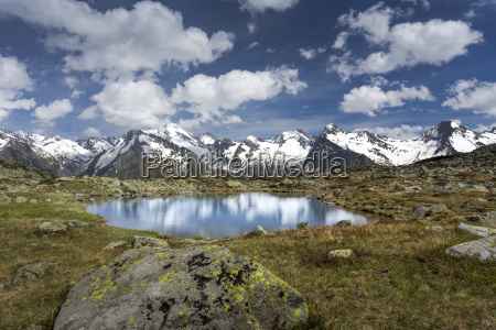 small mountain lake in south tyrol