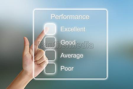 hand pushing performance on virtual screen