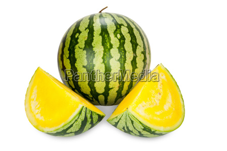 watermelon with yellow flesh isolated