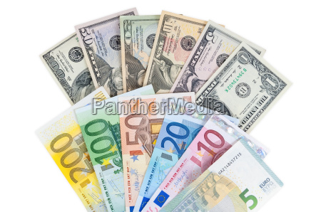 dollar and euro banknotes on white