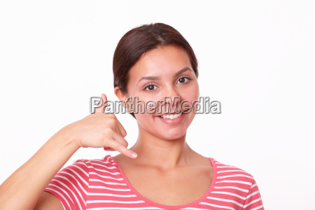 charming latin girl with call gesture