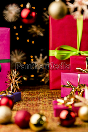 xmas background with gifts stars and