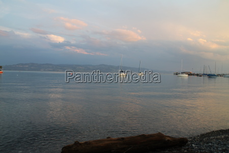 sailboats in the evening
