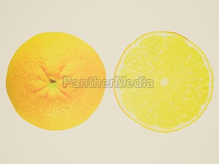 retro look lemon fruit