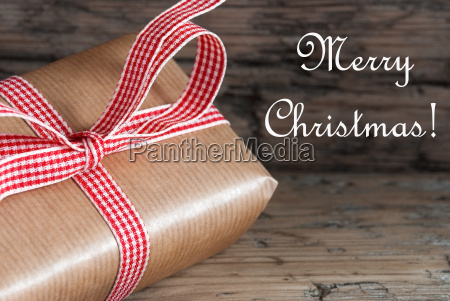 christmas present with merry christmas text