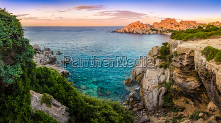 panoramic landscape view at rocky ocean
