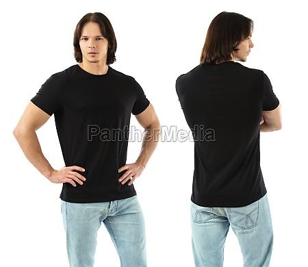 muscular man wearing blank black shirt