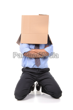 businessman with box head