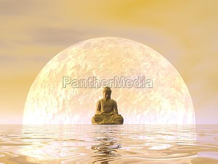buddha meditation 3d render