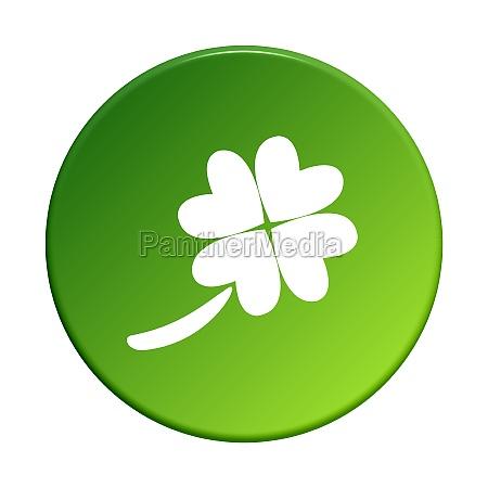 green round button shamrock
