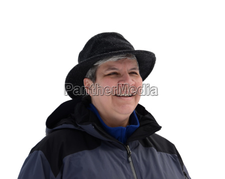 middle aged woman in winter clothes