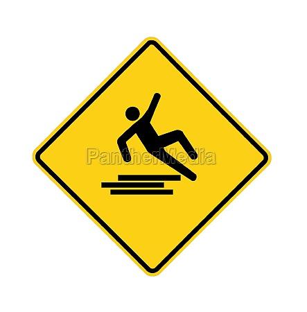 road sign slipping man