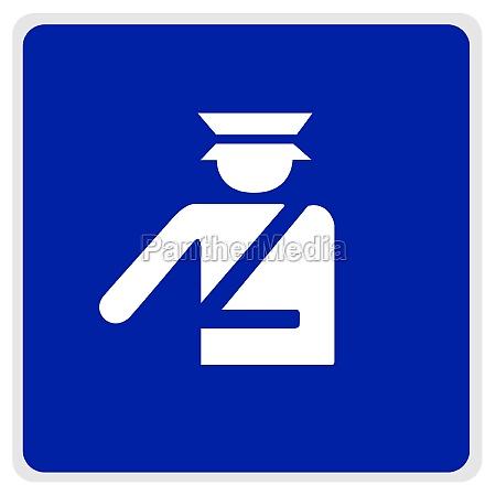road sign blue police