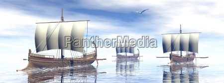ancient greek boats 3d render