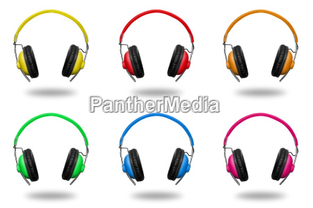 colorful headphones isolated on white background