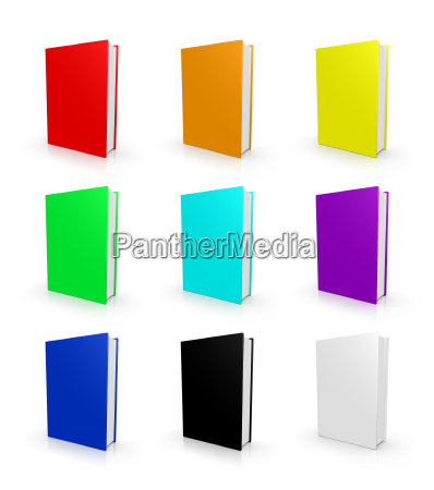 books in colorful colors isolated on