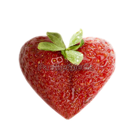strawberry in heart shape isolated on