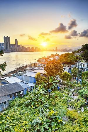 hong kong fishing valley at sunset