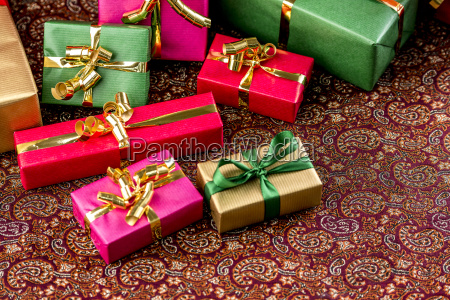 festive cloth half covered with giftsr