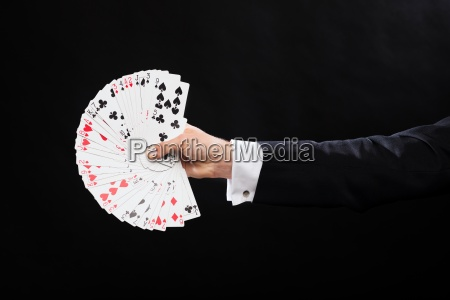 close up of magician hand holding