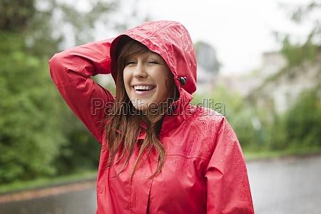 cute young woman walking through the