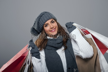 smiling woman during the winter sale