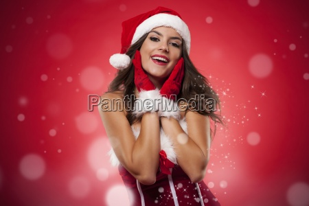 christmas portrait of beautiful woman during