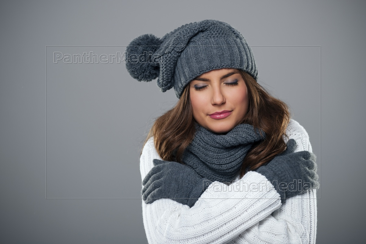 young, woman, shivering, during, the, winter - 12112696