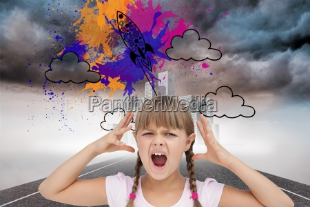 composite image of crazy little girl