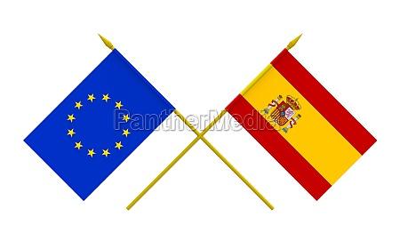 flags spain and european union