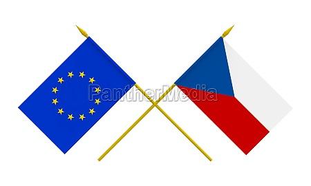 flags czech republic and european union