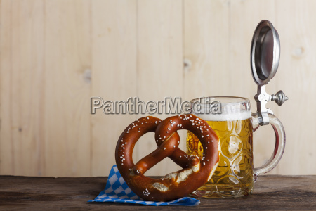 bavarian beer and a pretzel on