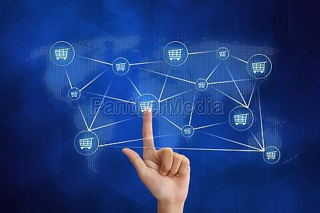hand pushing shopping networking