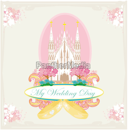 vintage wedding card with rings and